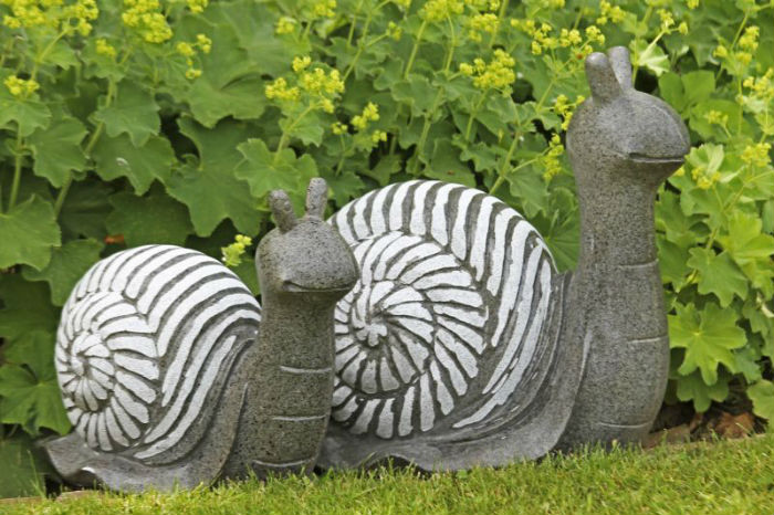 Escargot en r sine d co gris blanc boutique for Escargot decoration jardin